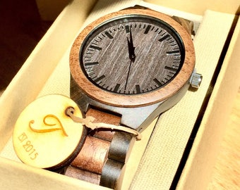 Wood Watch, Men's Wooden Watch, ENGRAVING INCLUDED! Mens Wood Watch,Wood Watches for him, personalize watch, Boyfriend Gift, Gifts for Dad