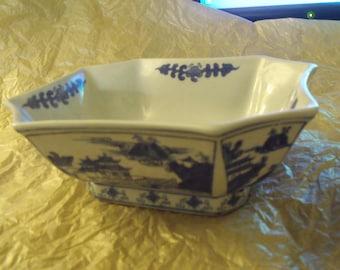 vintage china porcelain blue bowl