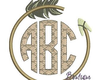 Arrowhead Monogram Frame Embroidery Design - Instant Download