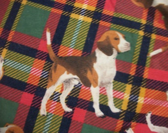 "FLANNEL 19"" Long x 43"" Tri Colored Male Beagle Dog on Plaid Shamash and Sons HTF OOP Fabric Ready To Ship"