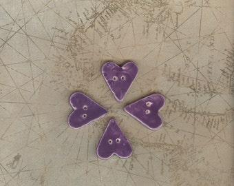 Purple heart button set Handmade ceramic heart button Artisan ceramic button purple heart buttons cute button porcelain buttons handmade
