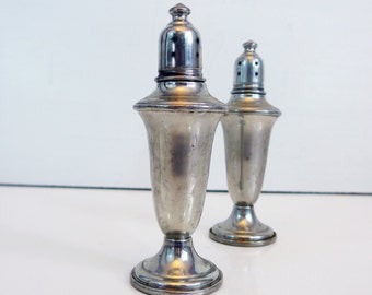Beautiful Vintage Empire Pewter Salt & Pepper Shaker Set with Glass Liners - Tall Weighted Vintage Pewter Salt Pepper Set