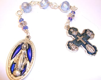 Chaplet,Catholic chaplet,one decade,pocket chaplet,Miraculous,medal,wire wrapped,unbreakabl blue pocket rosary,Abundant Grace Rosary,Indylin