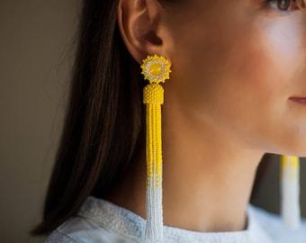 Matt yellow silver tassel earrings Long beaded tassel earrings Prom earrings BOHO earrings Statement swarovski earrings Ombre tassel earring
