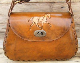 """""""Nomad"""" leather bag, Celtic horse"""