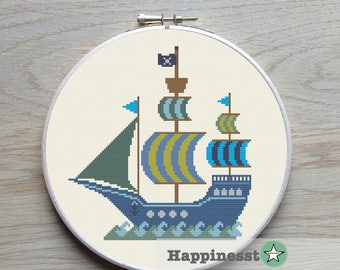 cross stitch pattern pirate ship, boat, PDF,  ** instant download**