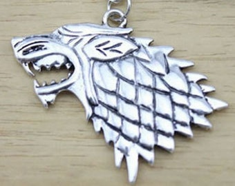 Stark Direwolf Necklace or Keychain Game of Thrones Wolf