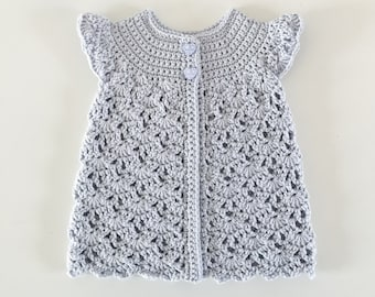 Organic Cotton Baby Crochet Cardigan in Purple, Eco-Friendly, Fair Trade, Custom Made Size 6 months