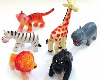 Zoo Animal Cake Toppers, Zoo Cupcakes, Toddler Birthday Party, Go Wild Party Favors, Jungle Animals, Giraffe Zebra Lion Tiger Hippo Gorilla