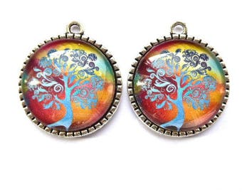 Tree of life, glass cabochon, 2, 5 cm, 1 pair