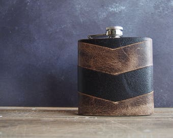 Brown Leather Chevron Hip Flask, personalised leather hip flask, groomsmen gift, custom wedding birthday christmas fathers day gift
