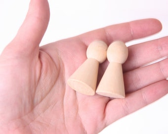 set of 4 wooden pawns, unfinished wood, DIY board game, natural, plain, wooden tiny doll base, ludo, dolls, wooden pawn, unfinished wood
