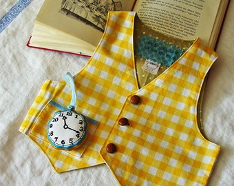 Boys White Rabbit Vest & Watch  YELLOWs March Hare Vest  Alice in Wonderland Party Baby or Toddler Costume