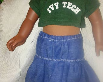 "Ivy Tech Crop Top with Denim Skirt for 18"" doll"