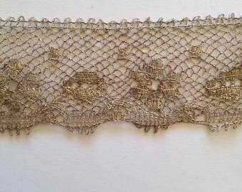 Vintage lace, antique silver metal wire