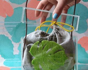 Embroidered Plexyglas bag for women/hand made embroidered bag/transparent bag/gift for her/Vegan bag, Monstera bag