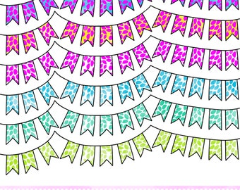 Floral Watercolor Digital Bunting Clip Art