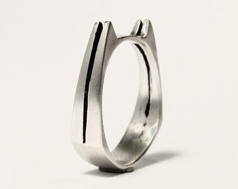 Double Cat Bite Ring - Modern Minimalist -Sterling Silver - Unisex