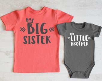 Big Sister Little Brother Outfit. Big Sister Shirt & Little Brother Bodysuit Set. Sibling Shirts. Matching Brother Sister Gifts.