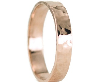 14k Rose Gold Wedding Ring - Unisex 4mm Classic Flat Wedding Band - Hammered or Smooth