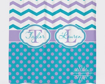 purple and turquoise shower curtain. Custom Designed Polka Dot And Chevron Turquoise Purple Shower Curtain  Boys Girls Shower Curtain Etsy