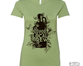 Womens Local BREW T Shirt -hand screen printed s m l xl xxl (+ Colors) custom custom