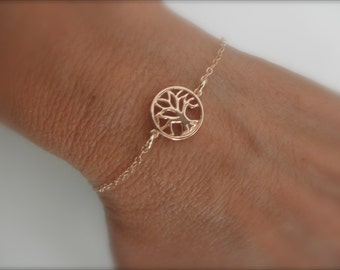 Rose gold  Tree of life  bracelet on gold-filled chain
