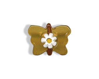 Amber Lampwork Butterfly beads