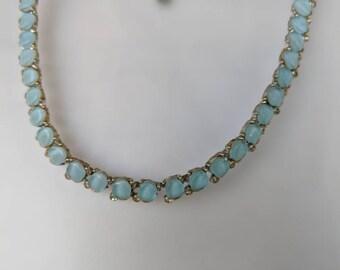BSK Dainty Blue Thermoset & Rhinestone Necklace