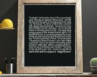 Prince Art Purple Rain Wall Art Astrology Oracle Affirmations Soulmate Gift Sentimental Gifts Best Selling Item Bestie College Student Print