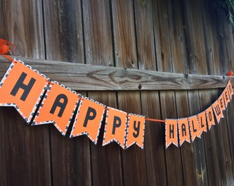 Halloween Banner/Black and Orange Banner/Seasonal Banner/Custom Banner/Polka Dot Banner