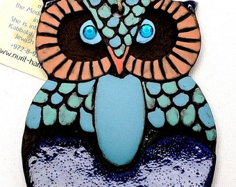 Small Owl Home Blessing Ceramics Painting Art Hand Made Design