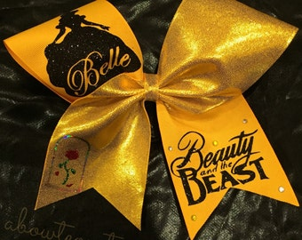 BELLE cheer bow, beauty and the beast, disney, disney bow, belle bow, dance bow, beauty and the beast bow