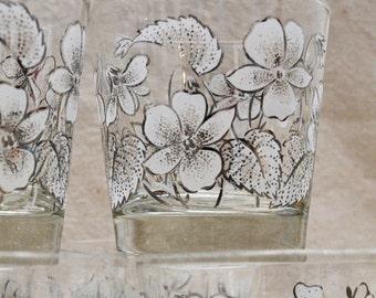 Vintage Flowered Barware set