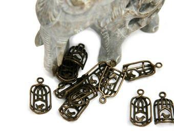 20 Tibetan bronze charm pendant new birdcage with little bird