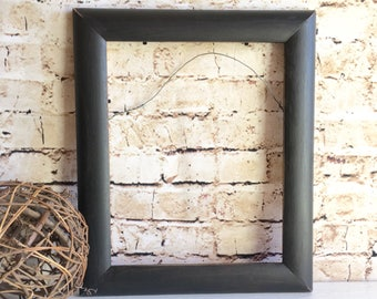 Distressed Black Painted Wooden Picture Frame 8x10 Inches Wall Hanging