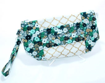 Wristlet Wallet - iPhone Plus - Large Wristlet Clutch with hand strap and removable wrist strap - EDC Wristlet - EDC Wallet - Teal and Gold