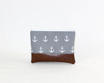 MIDI bag - gray anchor, bag, cosmetic bag, purse, make-up bag, vegan, minimalist, pouch, pencil case,