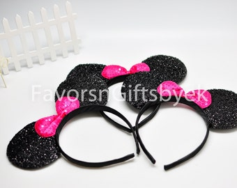 14 Sparkly Minnie with  FUSCHIA Bow + 1 Sparkly Silver with WHITE bow