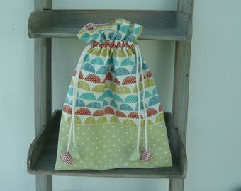 Red blue green cotton storage pouch bag