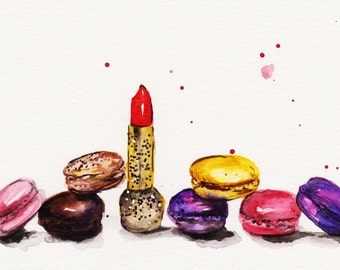 Lipstick and Macaroons Watercolor Illustration