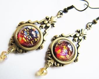 Victorian Style Dragon's Breath/Ruby Harlequin Fire Opal Earrings, Victorian Earrings, Fire Opal Earrings, ERG91