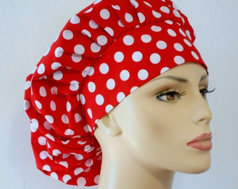 Scrub Hats Red Polka Dot-Bouffant Scrub Hat-Minnie Mouse- Red Polk Dot Scrub Hats-Medical Scrub Hat-Scrub Caps-Womens Scrub Hat-SilverCaps