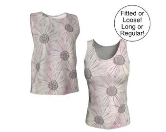 Pink Floral Tank Top, Loose or Fitted, XS S M L XL, Printed Daisies, Long Sleeveless, Stretchy Jersey Knit, Pastel Spring Summer Fashion