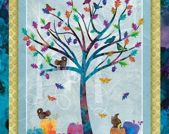 Fall Leaf Fabric, Squirrel - Autumn Hue by Alexa Kate Design - Studio E - 4200P-16 - Priced by the 36-Inch Panel