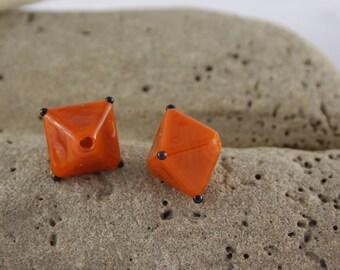 Set of 2 Orange Lampwork Glass Beads