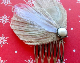 VIVIENNE Ivory Peacock Hair Comb, Feather Fascinator