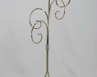 4 Arm Tall Ornament Display Stand in  Gold Brass with Silver Contrast Wrap