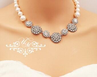 Wedding Necklace Single Strands Swarovski Pearl Necklace Rhinestone Necklace Bridal Jewelry Bridal Necklace Bridesmaids Necklace - OLIVE