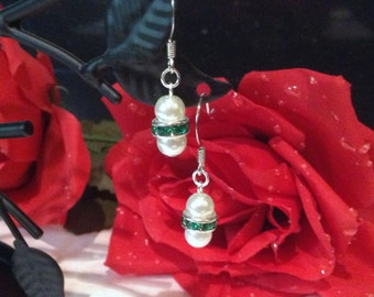 Traditional Emerald Green and White Double Glass Pearl Earrings Bridesmaid Flower Girl Wedding Bridal Jewelry